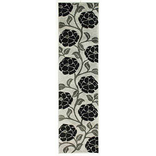 Lord of Rugs Tapis moderne à motif floral sculpté à la main, doux, épais, gris, noir, en 5 tailles (60 x 230 cm)
