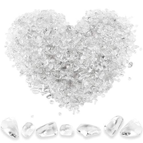 Twdrer 2lb/950g Small Natural White Clear Irregular Shaped Crystal Quartz Rock Tumbled Chips Crushed Stone Healing Reiki Crystal Gemstones for Garden Aquarium Vases Plants Decoration