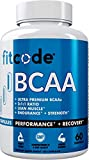 Fitcode Ultra Premium BCAAs with 5G of Pure BCAAs with Proven 2:1:1 Ratio of Amino Acids to Help Post Workout Recovery, Lean Muscle Growth, Endurance, Capsules (60 Servings)