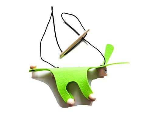 Miniblings Marionette Kindermarionette Holz Filz Kalle Fux Kinder Kind Esel Hund neon-grün