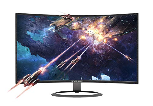 Sceptre 27' Curved 75Hz LED Monitor C278W-1920R Full HD 1080P HDMI DisplayPort VGA Speakers, Ultra Thin Metal Black, 1800R immersive curvature, 2018,Metallic Black