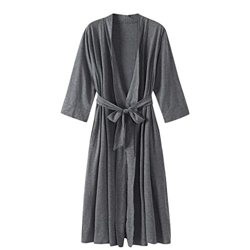 YUTRD ZCJUX Kimono Vestido Gris Mujer Traje del Kimono Homewear Camisa de Dormir Atractiva Mini Dormir camisón Ocasional cómodo Suave del Traje (Color : B, Size : Large)