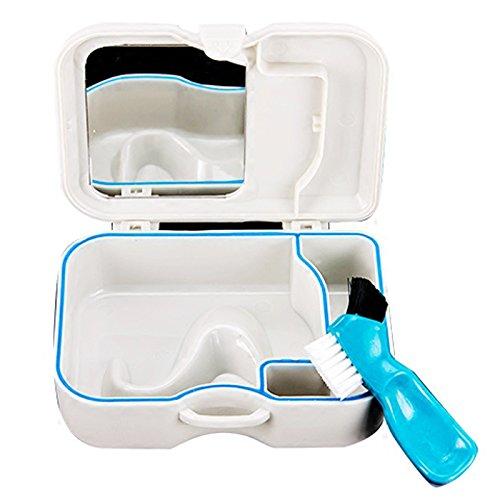 Bluelover Mini Boîte Portative Non-Toxique De Dentition Durable Équipée avec Le Miroir Et La Brosse