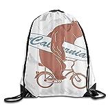 MOBEITI Kordelzug Rucksäcke String Gym Bags,California Fahrrad Bär,Mode Große Kapazität Rucksack Home Travel Sport für Männer Frauen