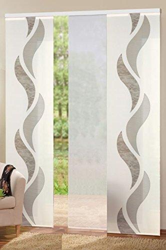 wohnfuehlidee 3er-Set Flächenvorhänge Deko Blickdicht Welle Sherli Fb. braun/Weiss