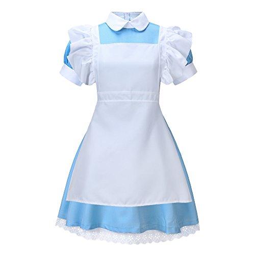 Bonamana Alice im Wunderland Anime Kellnerin Kostüm Lolita Kleider Dienstmädchen-Outfit für Restaurant / Festival / Party / Abschlussball / Halloween (L)