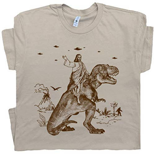 S - Jesus Riding Dinosaur T Shirt Funny T-Rex UFO Tee Offensive Witty Charles Darwin Alien Abduction Tan
