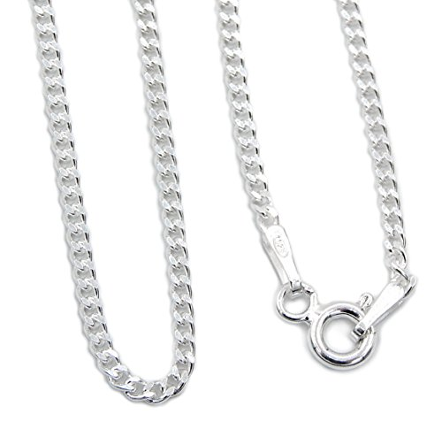 Panzerkette 925 Sterling Silber rhodiniert 1,7mm breit Länge wählbar 40 45 50 cm Silberkette Halskette Kette Damen (40)