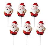 KuGee Adornos para Cupcakes de Navidad 6 Piezas Decoraciones para Pasteles de Navidad Figuras para Cupcakes de Muñeco de Nieve de Santa Claus Disfraces para Fiestas Accesorios para