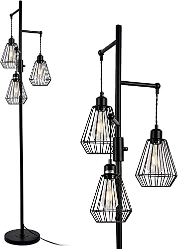 Rayofly Lámpara de pie Diamond Kasten industrial, 3 lámparas de pie con altura de 162 cm, para oficina, salón o dormitorio.
