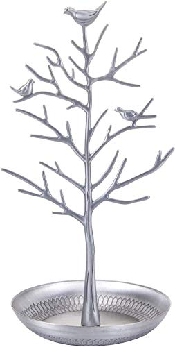 JHYS Retro Bird Tree Branches Jewelry Display Stand, for Earring Necklace Ring,Jewellery Stand,4 colors jewelry display stand,Earring Necklace Holders Organiser Rack Tower (Antique Silver)