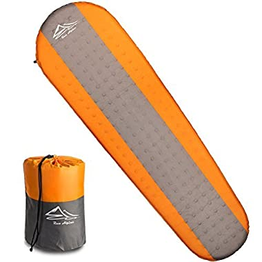 Raw Alpine Self Inflating Sleeping Pad - 2 Inch Thickness And Foam Insulated For Comfortable Sleep - Mat is Lightweight And Compact For Backpacking Outdoor Camping And Hiking - For Women Men And Kids