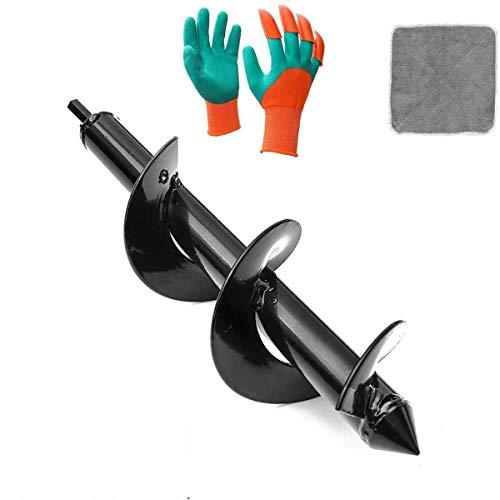 LIUMY Gartenbohrer Erdbohrer Ø 80 mm, Spiralbohrer für den Garten, praktisches Pflanzenwerkzeug, Pflanzpflanze mit Baum, Hex mit Blumen (80 x 300 mm), 2 Handschuhe, 1 Handtuch
