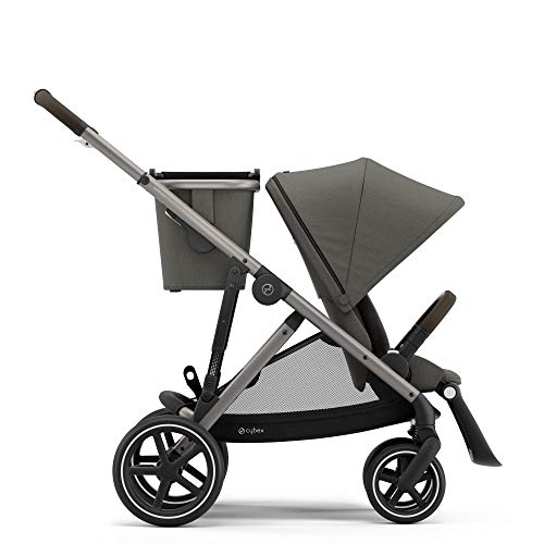 CYBEX Gazelle S Stroller, Modular Double Stroller for Infant and Toddler, Includes Detachable Shopping Basket, Over 20+ Configurations, Folds Flat for Easy Storage, Soho Grey