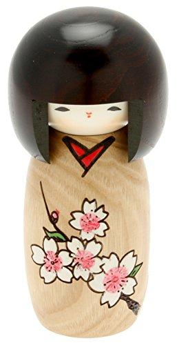 Usaburo Japanische Kokeshi-Puppe, Kimiko's brauner Kimono