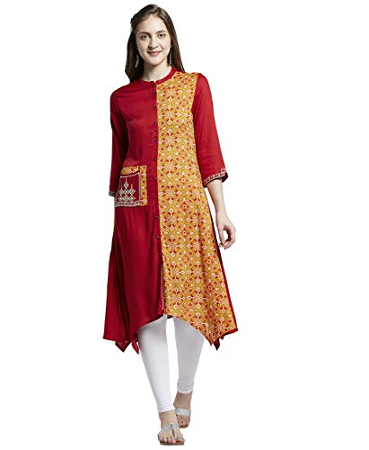 Morpankh by FBB Solid and Printed Kurta Red