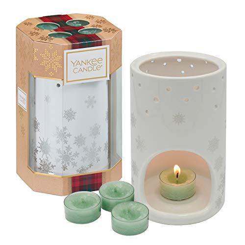 Yankee Candle Set de Regalo con 4Velas de Té Abeto Blanco y una Lámpara de Copo de Nieve, Colección Alpine Christmas, Estuche de Regalo de Copo de Nieve Navideño