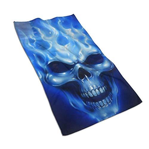 erjing Toalla Blue Flames Skull Soft Altamente Absorbente Toalla de Mano Decorativa para el hogar de Invitados Multiuso para baño, Hotel, Gimnasio y SPA