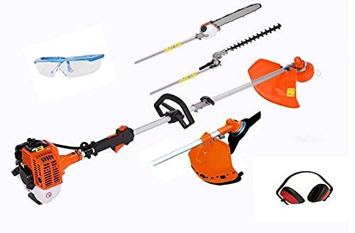 UNITED TRADE Desbrozadora multifunción 4 en 1 de desbrozadora, cortasetos, podadora, cortabordes, barra larga de 74 cm, incluye gafas y almohadillas protectoras