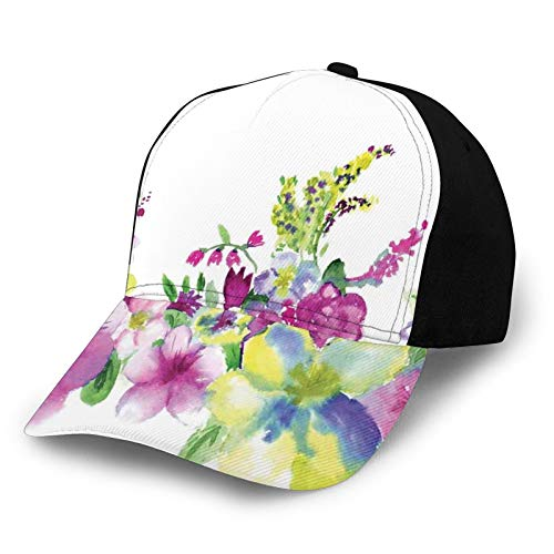Fashion Casual Printed Baseball Cap,Hybrid Garden Floret Composition with Heathers and Stocks In Abstract Art Theme,Unisex Baseball Cap