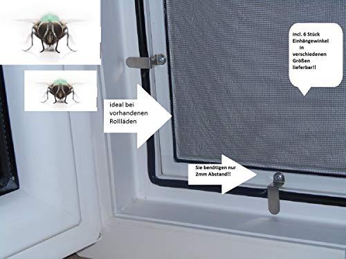 Vliegenhor voor ramen, muggen, insectenbescherming, wit, optimaal voor rolluiken, BETTER-, VIEW, betere doorkijk. 100cm x 150cm 8 stuks 25 mm hoek
