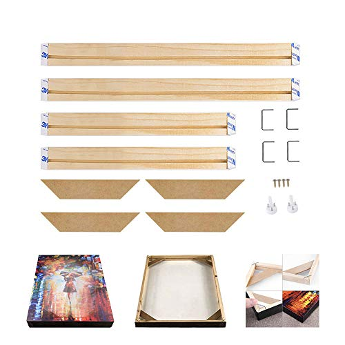 Wdsjxd Holz Keilrahmenleisten Bausatz zur,leinwand bilderrahmen keilrahmen Echtes Naturholz Rahmeng,Selbstmontage,(40x50cm)-16 * 20 Zoll