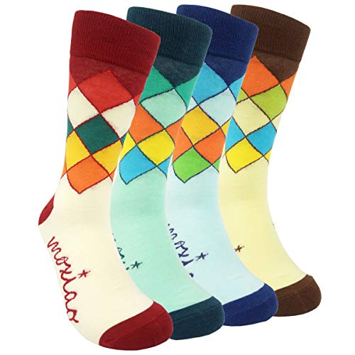 HSELL Mens Funny Colorful Argyle Dress Socks - Fancy Novelty Patterned Crazy Fun Casual Combed Cotton Crew Socks Pack Funky Gift for Men (4 Pairs - Diamond)
