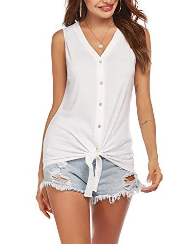 Unibelle Damen Button Down Shirts Ärmellose Hemdbluse Blusen Freizeitbluse Gebogener...