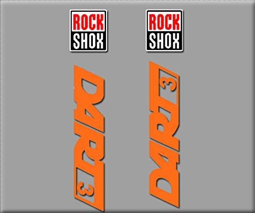 Ecoshirt DW-N1SY-BCSR Aufkleber Rock Shox Dart 3 R245 Vinyl Adesivi Decal Aufkleber Polyurethan-MTB Stickers Bike, orange
