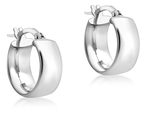 Carissima Gold Women's 9 ct White Gold 14 mm Band Creole Earrings