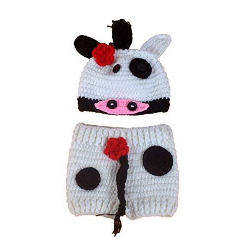 2 piezas de accesorios de fotografía de bebé trajes de ganchillo sombrero de vaca pantalones cortos traje de foto infantil