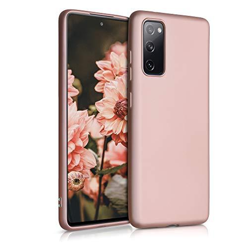 kwmobile Custodia Compatibile con Samsung Galaxy S20 Fe - Cover Silicone TPU Effetto Metallizzato - Protezione Back Case Morbida Oro Rosa Metallizzato