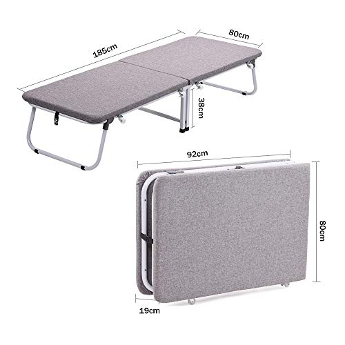 Affordable PingFanMi Hard Board Folding Bed with Wheels Indoor Portable Cotton Linen Bed, Sponge Mat...