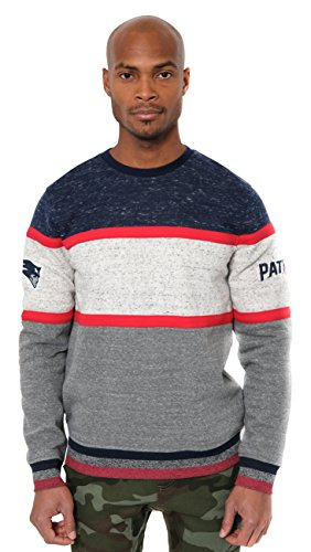 Ultra Game NFL New England Patriots Mens Fleece Sweatshirt Long Sleeve Shirt Block Stripe, Team Color, Large