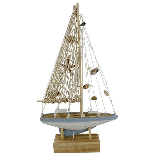 Dekorative LED Skulptur Holz-Fischerboot auf Sockel mit Muschel-Deko, Vintage, Natur-Weiss-blau, Dekoration im Shabby-Look/Landhausstil, (HxBxT): 41 x 26,5 x 5,5 cm, Beleuchtung, batteriebetrieben