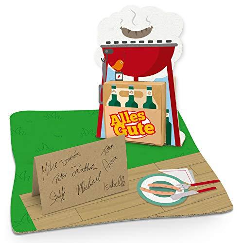 itenga Grill Geldgeschenk Gastgeschenk Verpackung Grillparty mit Bodenplatte, Geschenkkarte und Stickerbogen