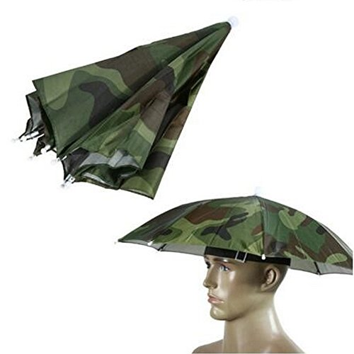 Accinouter Umbrella Hat, Folding Headwear 26' Hands Free Sunshade Double Layer Protection Parasol for Fishing Gardening Beach Camping Party (Camouflage, 14.2'x26'x26' (Open) 14.2'x 2' (Fold))