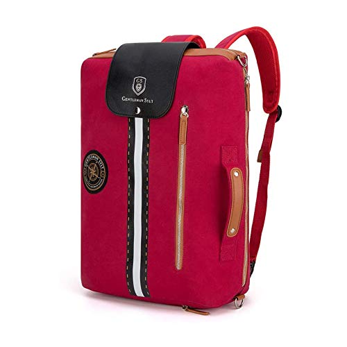 GENTLEMAN SYLT Laptoprucksack rot, Moderne Aktentasche mit Laptopfach, abnehmbare Riemen, Rucksack wasserabweisend 49x31x18cm