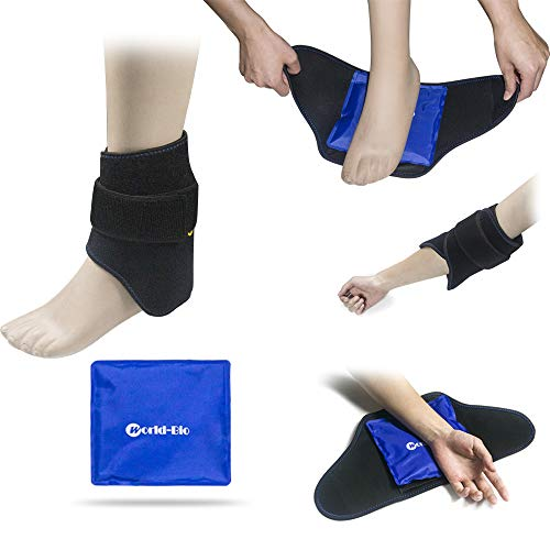 Foot Ankle Ice Gel Pack for Follow and Sole, Hot Cold Therapy Reusable Pad and Adjustable Heel Ice Wrap Perfect for Plantar Fasciitis, Achilles Tendonitis, Sprains, Swollen Foot and Muscle Pain Relief