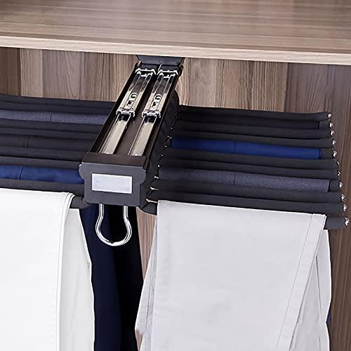LJHSS Pantalonero Extraible para Armario,Percha Extensible con Varilla De Flocado Antideslizante,para Armario 22 Brazos Ahorro de Espacio Organizadores de Ropa 58.5x45.8cm/23x18inch