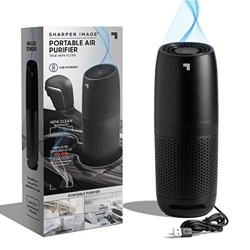 SHARPER IMAGE Portable Air Purifier with True HEPA Air Filter, Quiet Odor Elimination, Removes 99.97% of Smoke Dust Mold Pollen Allergens, USB Powered, Great for Home Work and the Car