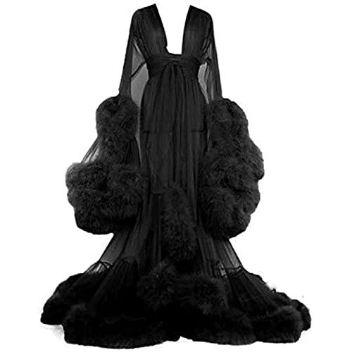 Damen Sexy Lange Dessous Robe Nachthemd Bademantel Nachtwäsche Feder Braut Robe Hochzeit Schal Feder-Robe Party Nachtwäsche, Lange Feder-Robe,Schwarz,One Size