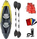 CENSUNG Kayak, Juego de Kayak Inflable para 2 Personas con remos de Aluminio y Bomba de Aire de Alto Rendimiento, Kit de Herramientas de Mantenimiento Adicional y 2 Chalecos Salvavidas