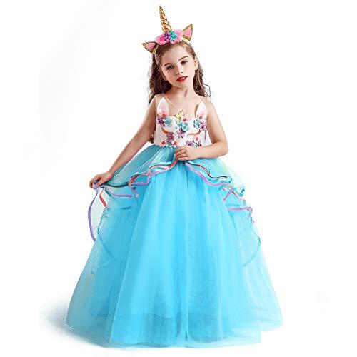 NNJXD Disfraz de Fiesta de Unicornio para Niñas Cosplay Disfraz de Halloween Tamaño (120) 4-5 años 700 Azul-A