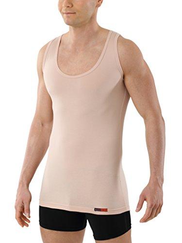 Albert Kreuz Trägerunterhemd unsichtbar Business Herrenunterhemd aus Stretch-Baumwolle ohne Arm mit tiefem Rundausschnitt Hautfarbe Nude 5/M