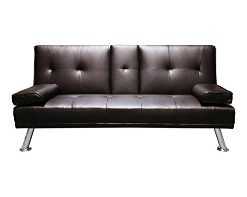 Humza Amani Faux Leather Folding Sofa Bed With Cup Holders Cinema Style (Brown)
