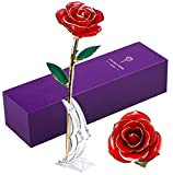 LUOHE 24k Gold Rose for Anniversary Unique Gifts, Gold Dipped Real...