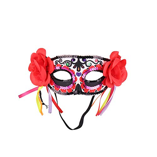 Masquerade Death Masks with Red Flowers Lace for Mardi Gras Christmas Halloween Home Party