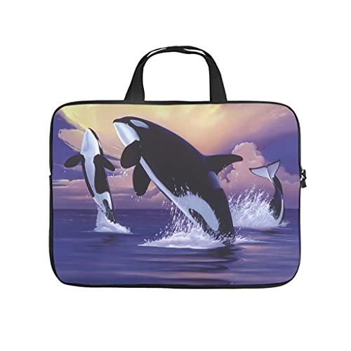 Facbalaign Painting Laptop Bag Killer Whale Portable Case Portable Scratch Resistant with Handle