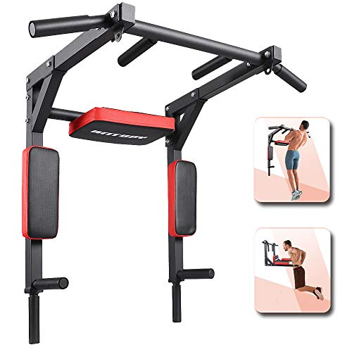 ANTOPY Pull Up Bar Wall Mounted Dip Station Multifunctional Power Tower Home Workout Strength Training Equipment for Back Arm Abdominal Exercise Fitness Max 440lbs